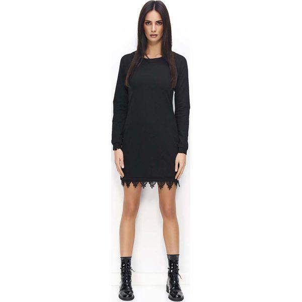 b601ee4a6d02 Czarna Sukienka Dzianinowa z Ozdobną Koronką na Dole - Sukienki ...