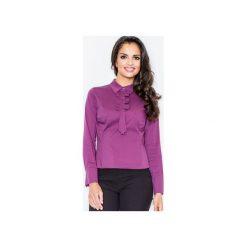 Bluzka M001 Bakłażan. Fioletowe bluzki damskie Figl, z bawełny, z długim rękawem. Za 76.00 zł.