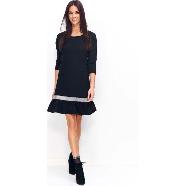 234f0a1619a1 Czarno Srebrna Sukienka Dzianinowa z Falbanką na Dole - Sukienki ...