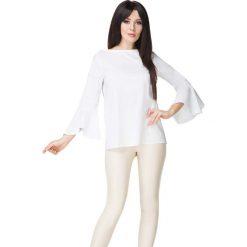 Biała Bluzka z Hiszpańskim Rękawem. Białe bluzki damskie Molly.pl, w jednolite wzory, z jeansu, biznesowe, z długim rękawem. Za 149.00 zł.