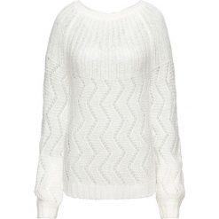Sweter dzianinowy z wycięciem z tyłu bonprix biel wełny. Swetry damskie marki KALENJI. Za 59.99 zł.