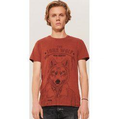 T-shirt z wilkiem - Brązowy. T-shirty męskie marki Giacomo Conti. W wyprzedaży za 19.99 zł.