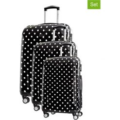 Zestaw walizek w kolorze czarnym ze wzorem - 3 szt. Walizki męskie Platinium, z materiału. W wyprzedaży za 659.95 zł.