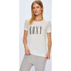 Roxy - Top. Szare topy damskie Roxy, z nadrukiem, z bawełny, z okrągłym kołnierzem, z krótkim rękawem. W wyprzedaży za 69.90 zł.