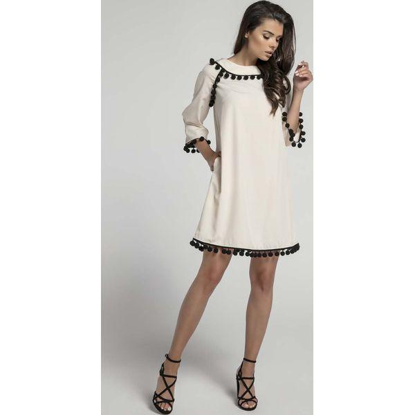 dd7b87e19748e5 Beżowa Wizytowa Sukienka Trapezowa z Troczkami - Brązowe sukienki ...