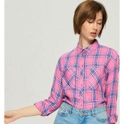 Koszula w kratę - Niebieski. Niebieskie koszule damskie Sinsay. Za 59.99 zł.