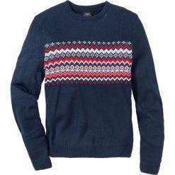 Sweter w graficzny wzór Regular Fit bonprix ciemnoniebieski. Niebieskie swetry przez głowę męskie bonprix. Za 74.99 zł.