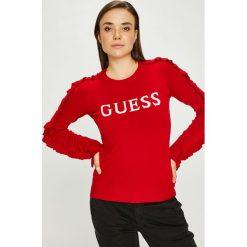 Guess Jeans - Sweter. Czerwone swetry damskie Guess Jeans, z dzianiny, z okrągłym kołnierzem. W wyprzedaży za 259.90 zł.