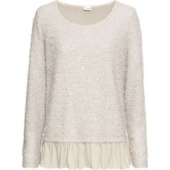 Sweter z falbaną bonprix beżowy. Brązowe swetry damskie bonprix. Za 129.99 zł.