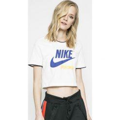 Nike Sportswear - Top. Szare topy damskie Nike Sportswear, z nadrukiem, z bawełny, z okrągłym kołnierzem, z krótkim rękawem. W wyprzedaży za 99.90 zł.