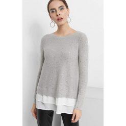 Sweter z cekinami. Szare swetry damskie Orsay, z dzianiny, z koszulowym kołnierzykiem. Za 119.99 zł.