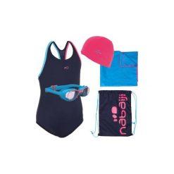 Zestaw pływacki Leony+ dla dzieci: strój okularki czepek ręcznik torba