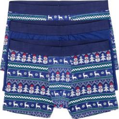 Bokserki z bożonarodzeniowym motywem (3 pary) bonprix niebiesko-biały z nadrukiem. Niebieskie bokserki męskie bonprix, z nadrukiem. Za 50.97 zł.