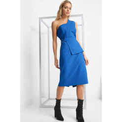 Asymetryczna sukienka. Niebieskie sukienki damskie Orsay, z bawełny, wizytowe, z asymetrycznym kołnierzem. Za 159.99 zł.