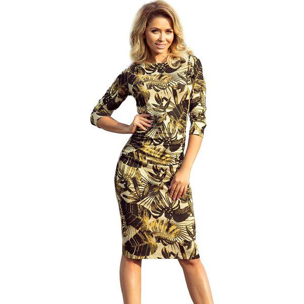 058406ec75 Miodowa Sukienka Dopasowana Swetrowa z Marszczeniami w Liście ...