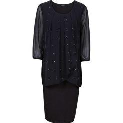 Sukienka shirtowa z szyfonową wstawką, rękawy 3/4 bonprix czarny. Czarne sukienki damskie bonprix, z szyfonu. Za 129.99 zł.