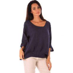 Lniana koszulka w kolorze granatowym. T-shirty damskie 100% Leinen, klasyczne, z okrągłym kołnierzem, z długim rękawem. W wyprzedaży za 87.95 zł.