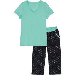 Piżama ze spodniami 3/4 bonprix niebieski mentolowy - czarny w kropki. Piżamy damskie marki MAKE ME BIO. Za 54.99 zł.