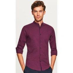 Koszula ze stójką super slim fit - Bordowy. Czerwone koszule męskie Reserved, ze stójką. Za 99.99 zł.