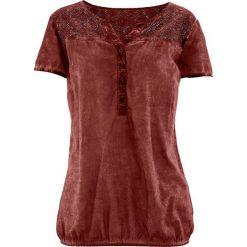 """Bluzka z koronką, krótki rękaw bonprix czerwony mahoń """"used"""". Czerwone bluzki damskie bonprix, w koronkowe wzory, z koronki, z krótkim rękawem. Za 59.99 zł."""