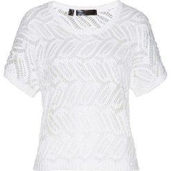 Sweter ażurowy bonprix biały. Swetry damskie bonprix, z dzianiny. Za 44.99 zł.