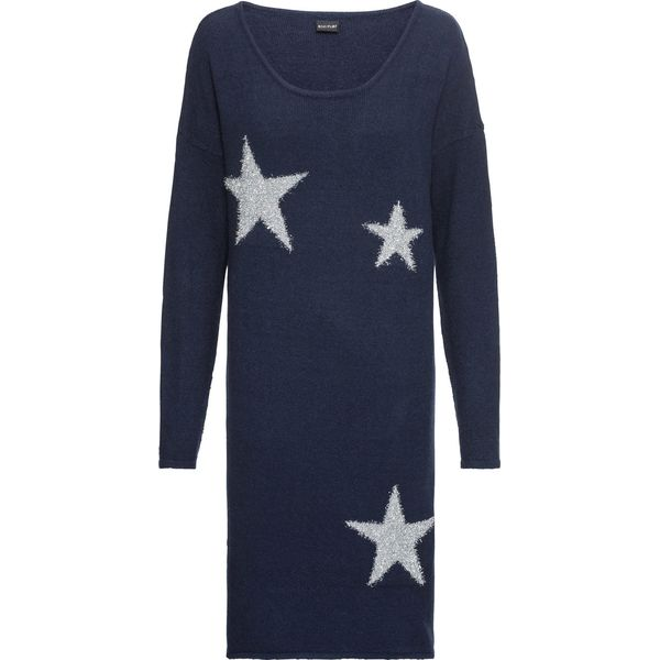 ce15c18635 Sukienka dzianinowa w gwiazdy bonprix ciemnoniebieski - Sukienki ...
