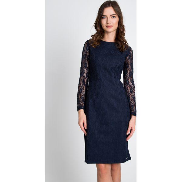 fb35e6e3f9614d Granatowa sukienka z koronkowymi rękawami QUIOSQUE - Szare sukienki ...