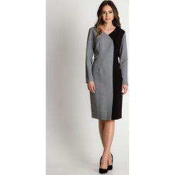 Asymetryczna sukienka z długim rękawem  BIALCON. Czarne sukienki damskie BIALCON, biznesowe, z asymetrycznym kołnierzem, z długim rękawem. W wyprzedaży za 148.00 zł.