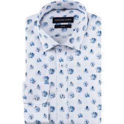 Koszula SIMONE slim KDWS000484. Białe koszule męskie Giacomo Conti, w kwiaty, z bawełny, z włoskim kołnierzykiem. Za 169.00 zł.