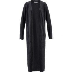 Długi płaszcz dzianinowy, długi rękaw bonprix czarny. Płaszcze damskie marki FOUGANZA. Za 119.99 zł.