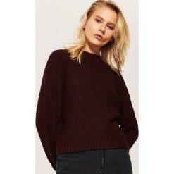 Sweter o ryżowym splocie - Bordowy. Czerwone swetry damskie House, ze splotem. Za 89.99 zł.