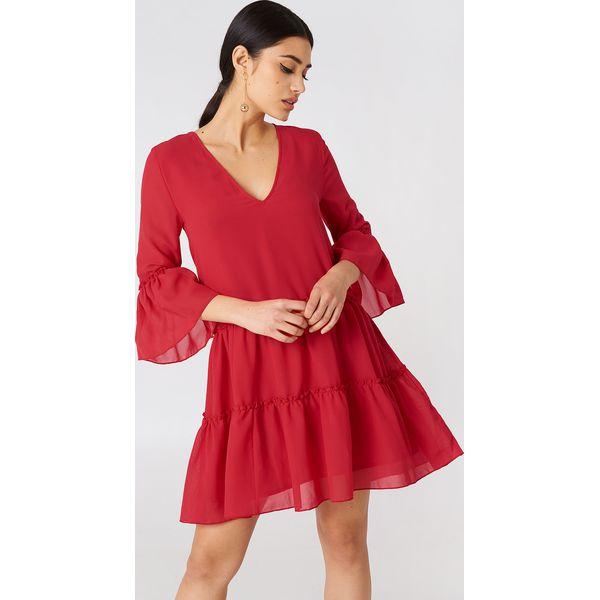 5f1881a2ba NA-KD Boho Sukienka mini z dekoltem V - Red - Sukienki damskie marki ...