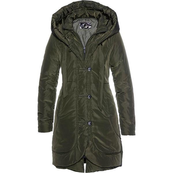 Krótki płaszcz pikowany bonprix nocny oliwkowy