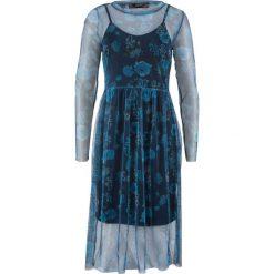 Sukienka siatkowa w kwiaty bonprix ciemnoniebieski z nadrukiem. Niebieskie sukienki damskie bonprix, w kwiaty. Za 109.99 zł.