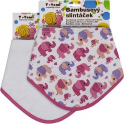 T-Tomi Bambusowe Śliniaczki, Różowe Słonie + Biały, 2 Szt. Białe śliniaki dla dzieci T-Tomi, z tkaniny. Za 39.00 zł.