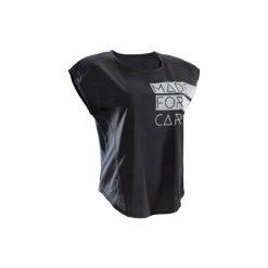 Koszulka fitness krótki rękaw 120 damska. Czarne koszulki sportowe damskie DOMYOS. W wyprzedaży za 24.99 zł.