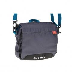 Torebka z licznymi kieszeniami. Szare torebki do ręki damskie QUECHUA, w paski, z materiału. Za 39.99 zł.