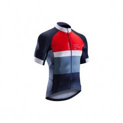 Koszulka krótki rękaw na rower szosowy ROADRACING 500 męska. Niebieskie koszulki sportowe męskie B'TWIN, z elastanu, z krótkim rękawem. Za 199.99 zł.