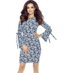 Sukienka z połyskiem wiązane rękawy b-70-05. Szare sukienki dla dziewczynek Berg, z jeansu. W wyprzedaży za 139.00 zł.