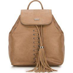 Plecak damski 87-4Y-354-5. Brązowe plecaki damskie Wittchen, z aplikacjami, boho. Za 199.00 zł.