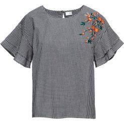 Bluzka z haftem bonprix biało-czarny w kratę. Białe bluzki damskie bonprix, z haftami. Za 79.99 zł.