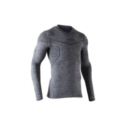 Koszulka termoaktywna długi rękaw dla dorosłych Kipsta Keepdry 500. Czarne koszulki sportowe męskie KIPSTA, z elastanu, z długim rękawem. Za 49.99 zł.