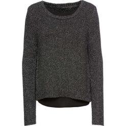 Sweter dzianinowy z szyfonową wstawką bonprix czarno-srebrny melanż. Swetry damskie marki bonprix. Za 79.99 zł.