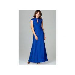Sukienka K486zafir. Niebieskie sukienki damskie Lenitif, eleganckie, z falbankami. Za 179.00 zł.