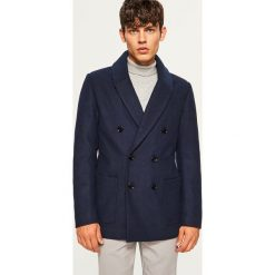 Płaszcz z wełną - Granatowy. Niebieskie płaszcze męskie Reserved, z wełny. Za 299.99 zł.
