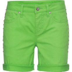 Szorty dżinsowe bonprix jaskrawy zielony. Szorty damskie marki KIPSTA. Za 37.99 zł.