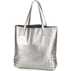 Torba shopper z ćwiekami bonprix srebrny kolor. Szare torebki shopper damskie bonprix. Za 79.99 zł.