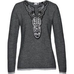 Sweter bonprix czarno-szary wzorzysty. Czarne swetry damskie bonprix, z żakardem. Za 99.99 zł.