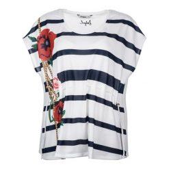 Desigual T-Shirt Damski Xl Biały. Białe t-shirty damskie Desigual, z okrągłym kołnierzem. W wyprzedaży za 189.00 zł.