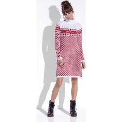 Biało Czerwona Sukienka Żakardowa w Skandynawskie Wzory. Sukienki damskie Molly.pl, na zimę, z żakardem, z golfem. Za 99.90 zł.